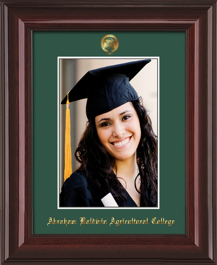 Image of Abraham Baldwin Agricultural College 5 x 7 Photo Frame - Mahogany Lacquer - w/Official Embossing of ABAC Seal & Name - Single Green mat