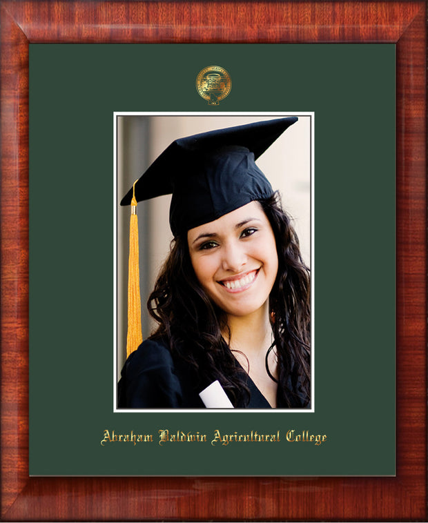 Image of Abraham Baldwin Agricultural College 5 x 7 Photo Frame - Mezzo Gloss - w/Official Embossing of ABAC Seal & Name - Single Green mat