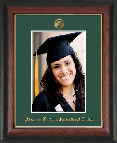 Image of Abraham Baldwin Agricultural College 5 x 7 Photo Frame - Rosewood w/Gold Lip - w/Official Embossing of ABAC Seal & Name - Single Green mat