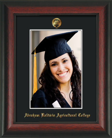 Image of Abraham Baldwin Agricultural College 5 x 7 Photo Frame - Rosewood - w/Official Embossing of ABAC Seal & Name - Single Black mat