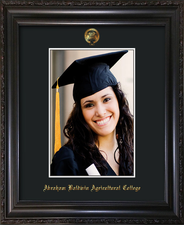 Image of Abraham Baldwin Agricultural College 5 x 7 Photo Frame - Vintage Black Scoop - w/Official Embossing of ABAC Seal & Name - Single Black mat