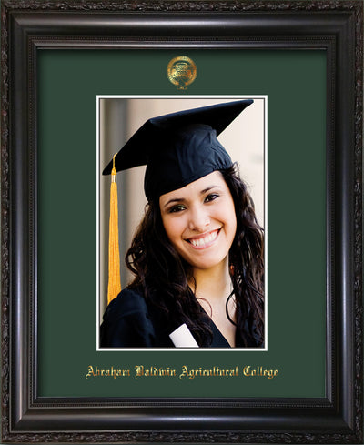 Image of Abraham Baldwin Agricultural College 5 x 7 Photo Frame - Vintage Black Scoop - w/Official Embossing of ABAC Seal & Name - Single Green mat