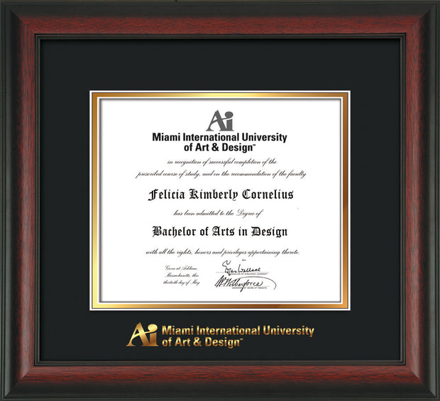 Image of Miami International University of Art & Design Diploma Frame - Rosewood - w/Embossed MIUAD School Name Only - UV Glass - Black on Gold mat