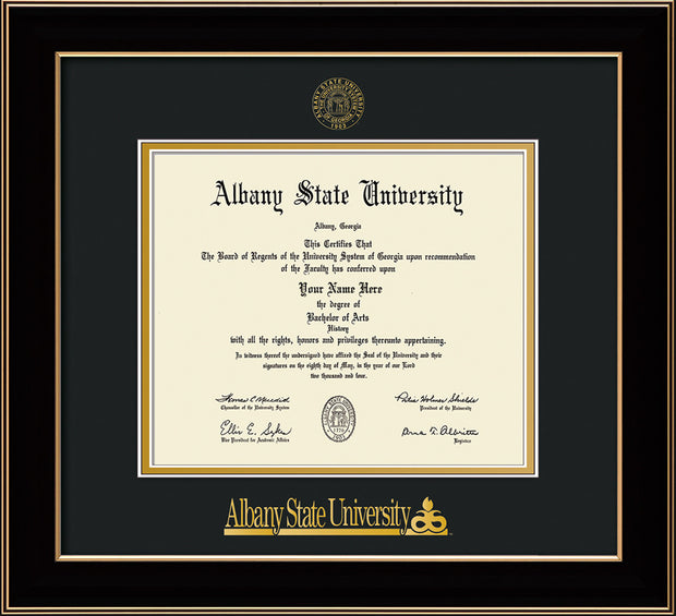 Image of Albany State University Diploma Frame - Black Lacquer - w/Embossed Albany Seal & Name - Black on Gold mat
