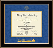 Image of Albany State University Diploma Frame - Black Lacquer - w/Embossed Albany Seal & Name - Royal Blue Suede on Gold mat