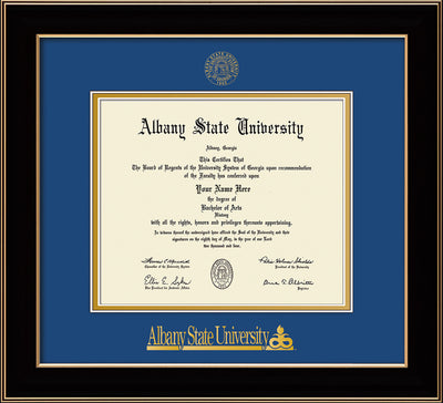 Image of Albany State University Diploma Frame - Black Lacquer - w/Embossed Albany Seal & Name - Royal Blue on Gold mat