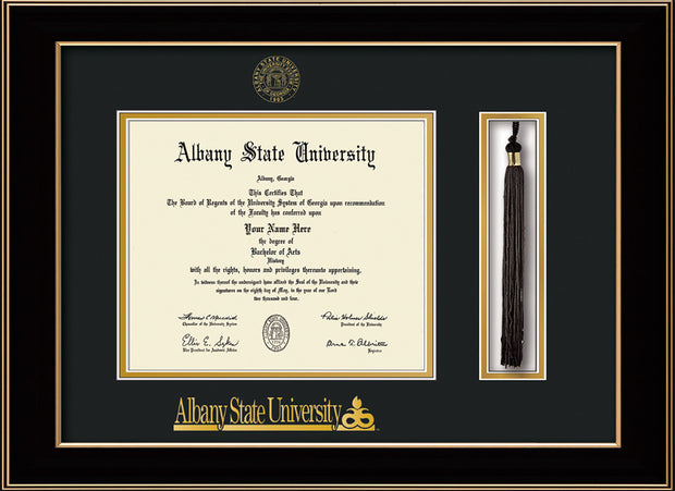 Image of Albany State University Diploma Frame - Black Lacquer - w/Embossed Albany Seal & Name - Tassel Holder - Black on Gold mat