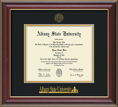 Image of Albany State University Diploma Frame - Cherry Lacquer - w/Embossed Albany Seal & Name - Black on Gold mat