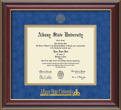 Image of Albany State University Diploma Frame - Cherry Lacquer - w/Embossed Albany Seal & Name - Royal Blue Suede on Gold mat