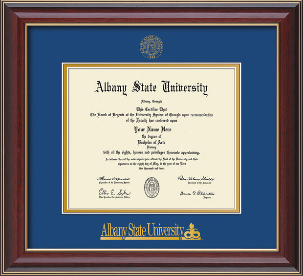 Image of Albany State University Diploma Frame - Cherry Lacquer - w/Embossed Albany Seal & Name - Royal Blue on Gold mat