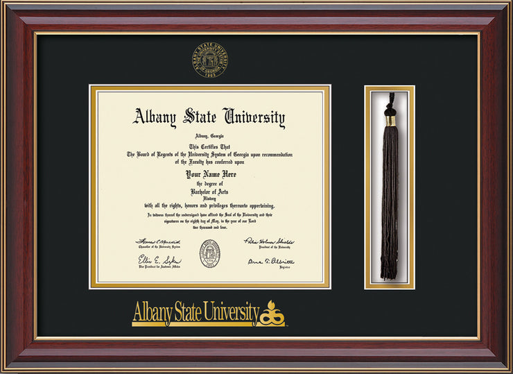 Image of Albany State University Diploma Frame - Cherry Lacquer - w/Embossed Albany Seal & Name - Tassel Holder - Black on Gold mat