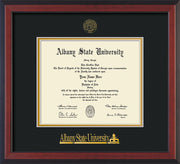 Image of Albany State University Diploma Frame - Cherry Reverse - w/Embossed Albany Seal & Name - Black on Gold mat