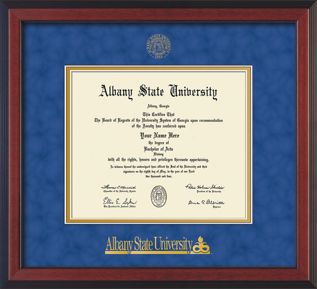Image of Albany State University Diploma Frame - Flat Matte Black - w/Embossed Albany Seal & Name - Royal Blue Suede on Gold mat