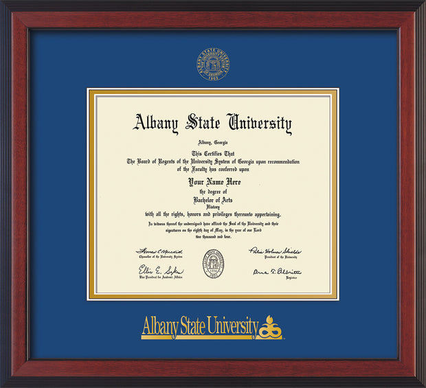 Image of Albany State University Diploma Frame - Cherry Reverse - w/Embossed Albany Seal & Name - Royal Blue on Gold mat