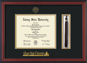 Image of Albany State University Diploma Frame - Cherry Reverse - w/Embossed Albany Seal & Name - Tassel Holder - Black on Gold mat