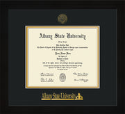 Image of Albany State University Diploma Frame - Flat Matte Black - w/Embossed Albany Seal & Name - Black on Gold mat