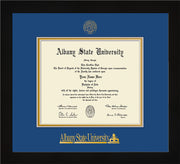 Image of Albany State University Diploma Frame - Flat Matte Black - w/Embossed Albany Seal & Name - Royal Blue on Gold mat