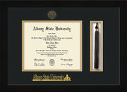 Image of Albany State University Diploma Frame - Flat Matte Black - w/Embossed Albany Seal & Name - Tassel Holder - Black on Gold mat