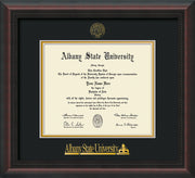 Image of Albany State University Diploma Frame - Mahogany Braid - w/Embossed Albany Seal & Name - Black on Gold mat