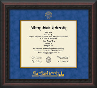 Image of Albany State University Diploma Frame - Mahogany Braid - w/Embossed Albany Seal & Name - Royal Blue Suede on Gold mat