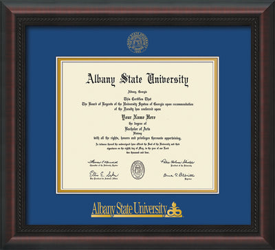 Image of Albany State University Diploma Frame - Mahogany Braid - w/Embossed Albany Seal & Name - Royal Blue on Gold mat