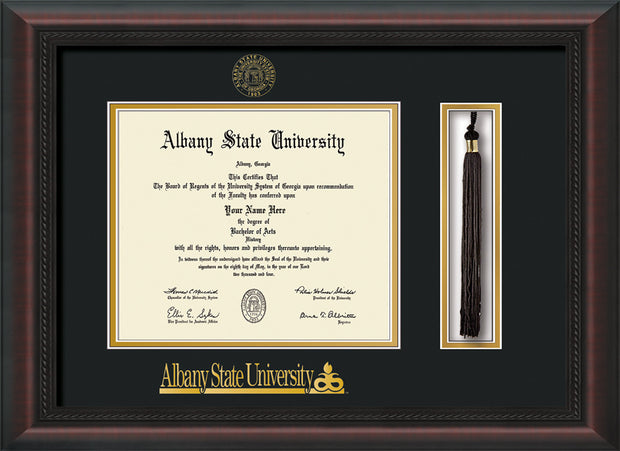Image of Albany State University Diploma Frame - Mahogany Braid - w/Embossed Albany Seal & Name - Tassel Holder - Black on Gold mat