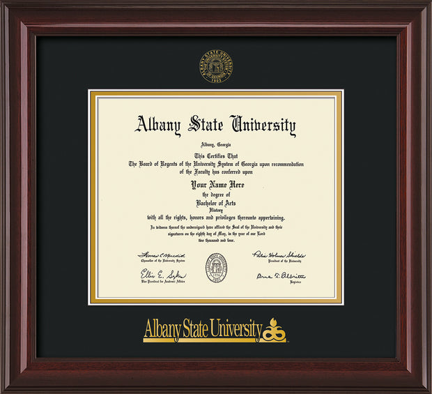 Image of Albany State University Diploma Frame - Mahogany Lacquer - w/Embossed Albany Seal & Name - Black on Gold mat
