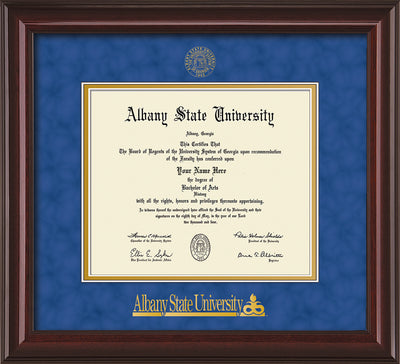 Image of Albany State University Diploma Frame - Mahogany Lacquer - w/Embossed Albany Seal & Name - Royal Blue Suede on Gold mat