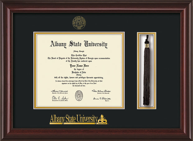 Image of Albany State University Diploma Frame - Mahogany Lacquer - w/Embossed Albany Seal & Name - Tassel Holder - Black on Gold mat