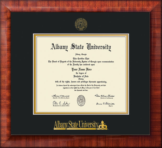 Image of Albany State University Diploma Frame - Mezzo Gloss - w/Embossed Albany Seal & Name - Black on Gold mat