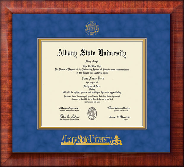 Image of Albany State University Diploma Frame - Mezzo Gloss - w/Embossed Albany Seal & Name - Royal Blue Suede on Gold mat