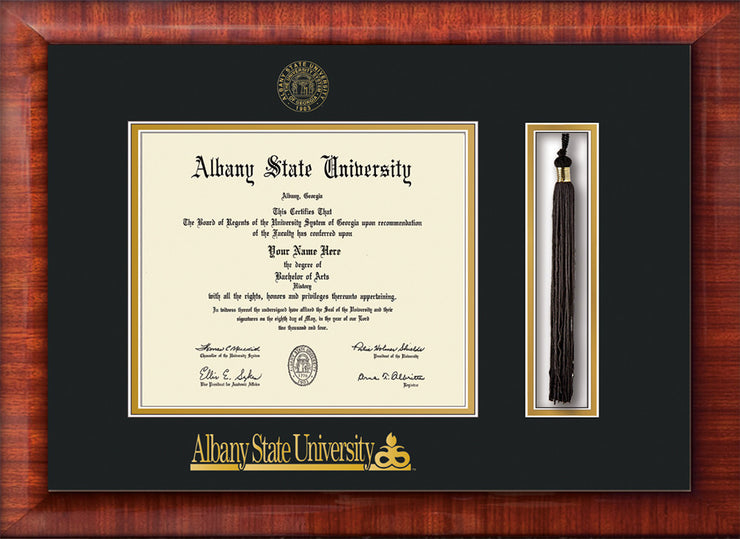 Image of Albany State University Diploma Frame - Mezzo Gloss - w/Embossed Albany Seal & Name - Tassel Holder - Black on Gold mat