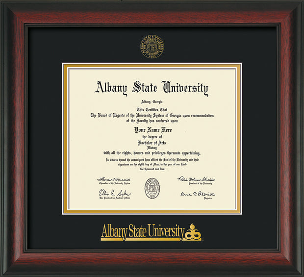 Image of Albany State University Diploma Frame - Rosewood - w/Embossed Albany Seal & Name - Black on Gold mat