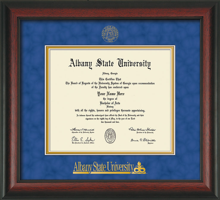 Image of Albany State University Diploma Frame - Rosewood - w/Embossed Albany Seal & Name - Royal Blue Suede on Gold mat