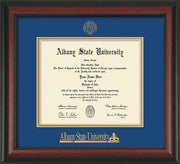 Image of Albany State University Diploma Frame - Rosewood - w/Embossed Albany Seal & Name - Royal Blue on Gold mat