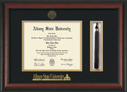 Image of Albany State University Diploma Frame - Rosewood - w/Embossed Albany Seal & Name - Tassel Holder - Black on Gold mat