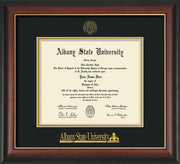 Image of Albany State University Diploma Frame - Rosewood w/Gold Lip - w/Embossed Albany Seal & Name - Black on Gold mat