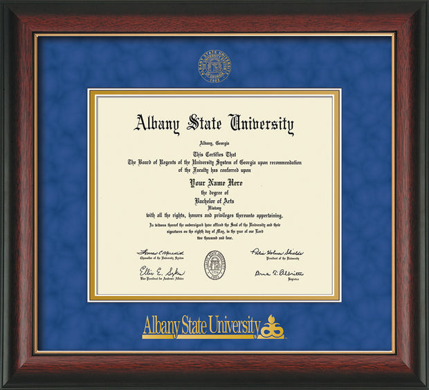 Image of Albany State University Diploma Frame - Rosewood w/Gold Lip - w/Embossed Albany Seal & Name - Royal Blue Suede on Gold mat