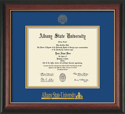 Image of Albany State University Diploma Frame - Rosewood w/Gold Lip - w/Embossed Albany Seal & Name - Royal Blue on Gold mat