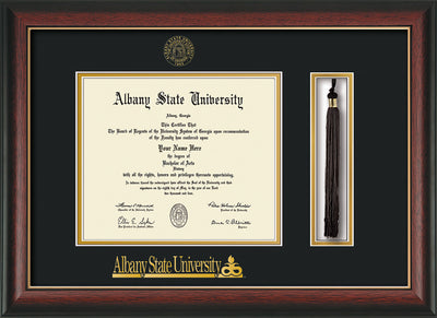 Image of Albany State University Diploma Frame - Rosewood w/Gold Lip - w/Embossed Albany Seal & Name - Tassel Holder - Black on Gold mat