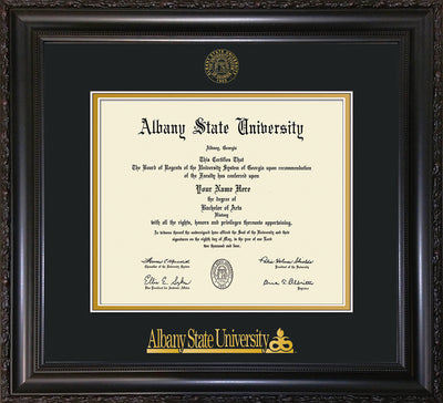 Image of Albany State University Diploma Frame - Vintage Black Scoop - w/Embossed Albany Seal & Name - Black on Gold mat