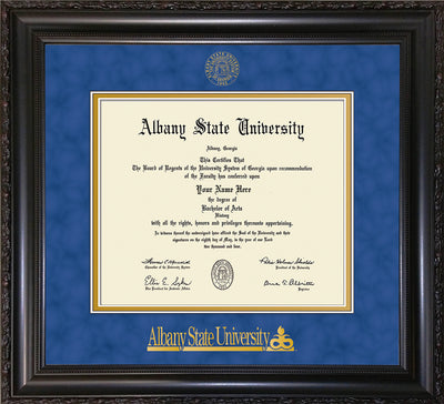 Image of Albany State University Diploma Frame - Vintage Black Scoop - w/Embossed Albany Seal & Name - Royal Blue Suede on Gold mat