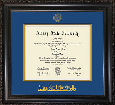Image of Albany State University Diploma Frame - Vintage Black Scoop - w/Embossed Albany Seal & Name - Royal Blue on Gold mat