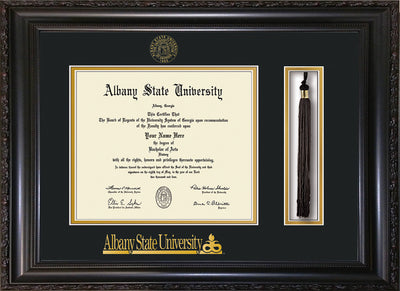 Image of Albany State University Diploma Frame - Vintage Black Scoop - w/Embossed Albany Seal & Name - Tassel Holder - Black on Gold mat