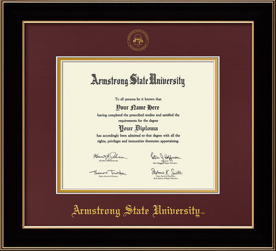 Image of Armstrong State University Diploma Frame - Black Lacquer - w/Embossed ASU Seal & Name - Maroon on Gold mat
