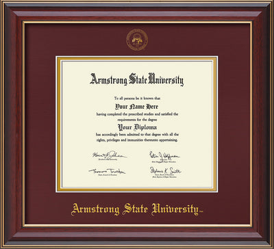 Image of Armstrong State University Diploma Frame - Cherry Lacquer - w/Embossed ASU Seal & Name - Maroon on Gold mat