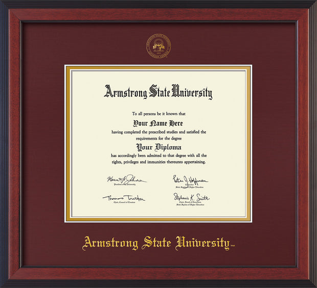 Image of Armstrong State University Diploma Frame - Cherry Reverse - w/Embossed ASU Seal & Name - Maroon on Gold mat