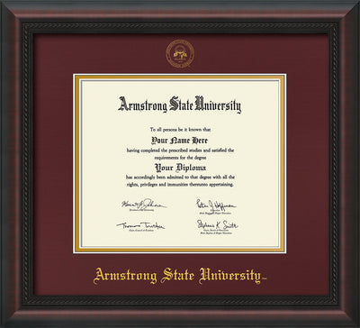 Image of Armstrong State University Diploma Frame - Mahogany Braid - w/Embossed ASU Seal & Name - Maroon on Gold mat