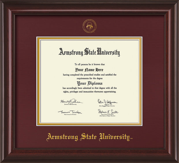 Image of Armstrong State University Diploma Frame - Mahogany Lacquer - w/Embossed ASU Seal & Name - Maroon on Gold mat