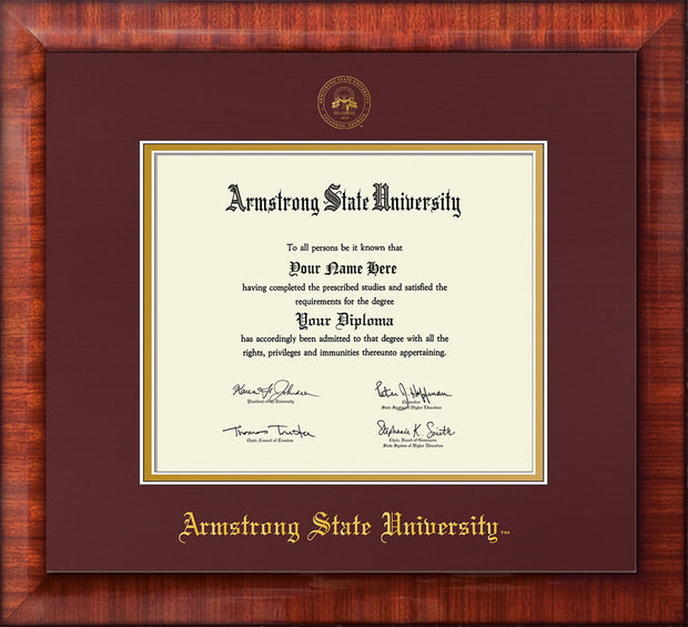 Image of Armstrong State University Diploma Frame - Mezzo Gloss - w/Embossed ASU Seal & Name - Maroon on Gold mat